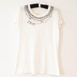 Loft Love Graphic Ivory Short Sleeve T-Shirt Sz M